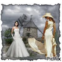 mariée et sa demoiselle d'honneur
