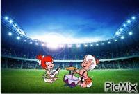 Pebbles and Bamm-Bamm singing in stadium