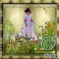 Child and garden