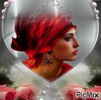 Portrait gris et rouge