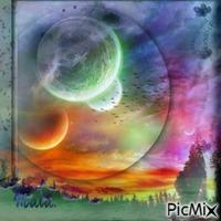 Fantaisie, lune et étoiles