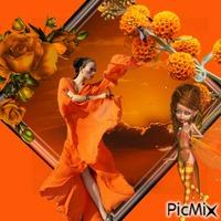 jeune femme en orange