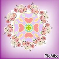 Dessin et cercle en rose