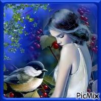 La jeune fille timide et le bel oiseau.