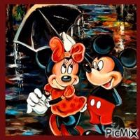 Mickey et Minnie sous la pluie