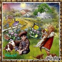 Alegria niños en el campo