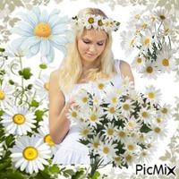Frau und Gänseblümchen