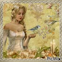 Femme et oiseau.