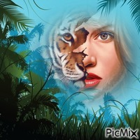Femme au visage de tigre