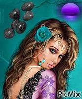 turquoise et violet