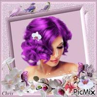 Portrait d'une femme aux cheveux de couleur violette