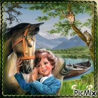 Mädchen und Pferd hautnah
