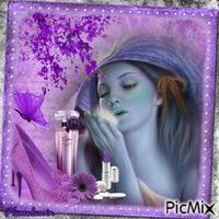 Portrait de femme et parfum lilas.
