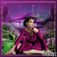 A woman in purple and green tones