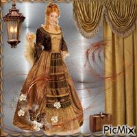 Femme Fond gris et couleur brune