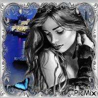 marzia - ritratto grigio e blu