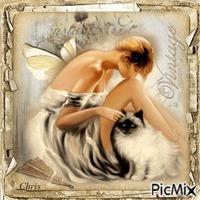 Vintage femme avec chat