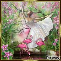 La ballerine et les flamands roses