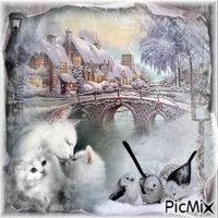 Winter kitten and birds