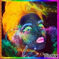 Portrait multicolore