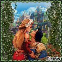 Ein Prinzenpaar vor einem Schloss