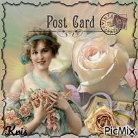 """Carte postale vintage """"roses"""""""