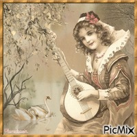 Portrait de femme vintage en beige.