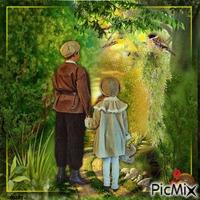 Enfant marchant dans la forêt