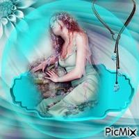vintage femme turquoise