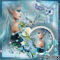 fille en bleu