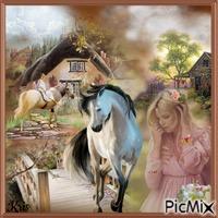 femme avec un cheval à la campagne 🌹🌼