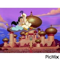 Aladdin and Jasmine fly by the palace