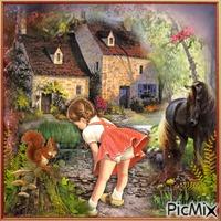 La petite fille et l'écureuil