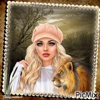 Portrait of a woman with a lion