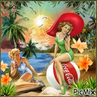 Pin-up Coca-Cola