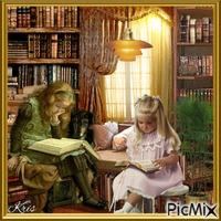 Deux enfants dans une bibliothèque