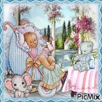 Baby in rosa und blau