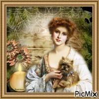 Femme vintage avec son chien.