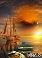 Puesta de sol en mar en calma