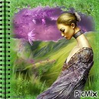 Femme en vert et violet.