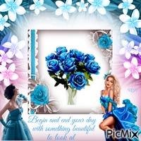 lady admiring roses