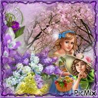 un tableau fleuri avec deux fillettes