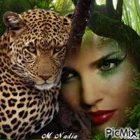 un visage un léopard