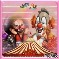 Clown qui rit et clown qui pleure.