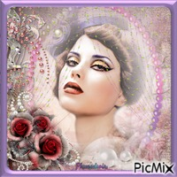 Portrait rétro avec perles.