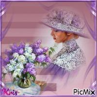 femme vintage /violet  🌺 🌻