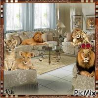 le repos civilisé des lions avec humour