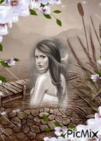 paysage femme noir et blanc