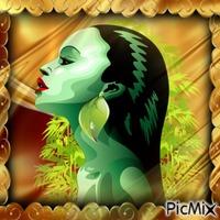 portrait femme cheveux noir