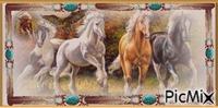 Bannière Indienne et chevaux
